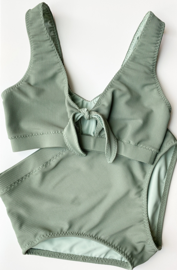 Front view flat lay, Vernazza swim suit in ribbed tricot from Sitka Fabrics in the colour Sage