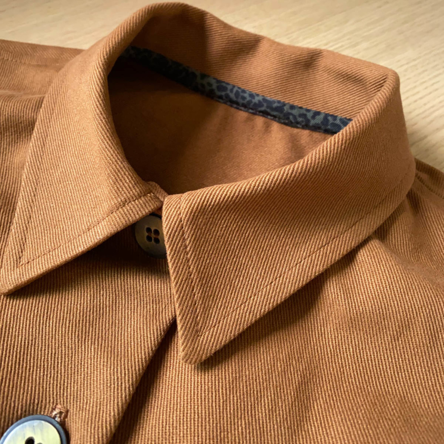 Close up of the collar and binding