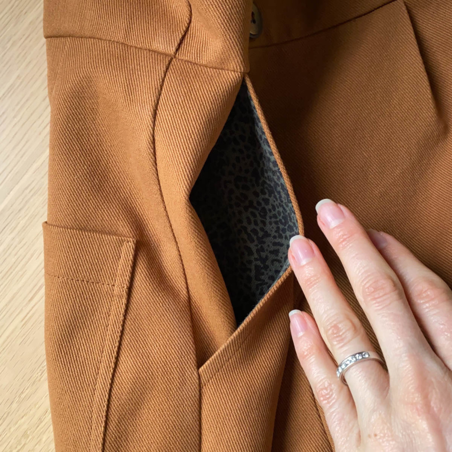 Close up of the inside of the side pocket
