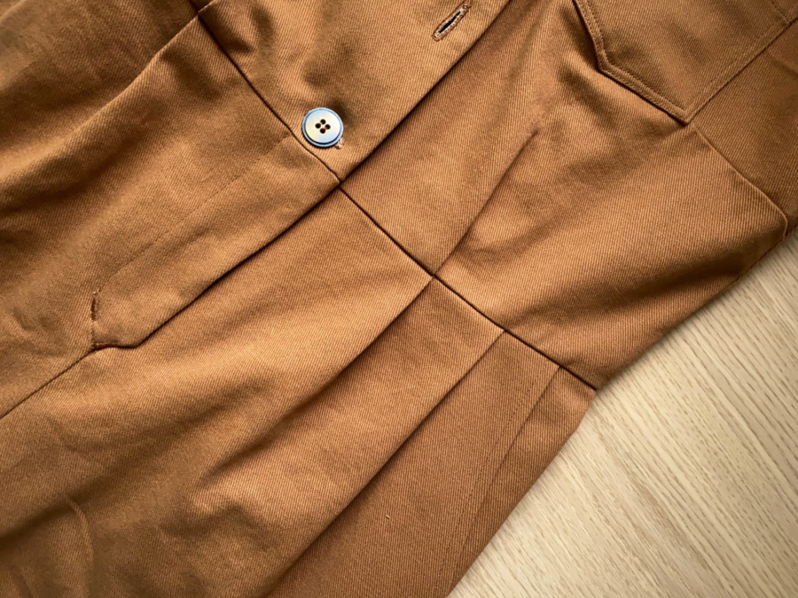 Close up of the front pleats on my Len Coveralls