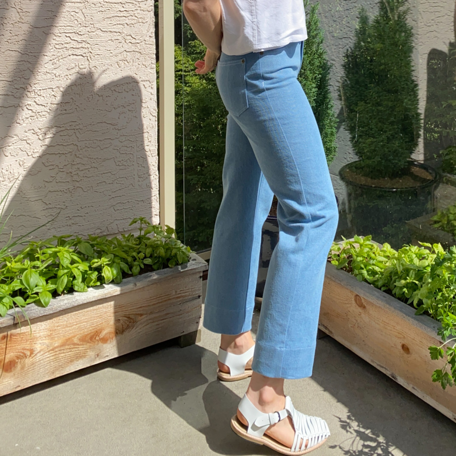 Wide leg, light wash ginger jeans, right side view