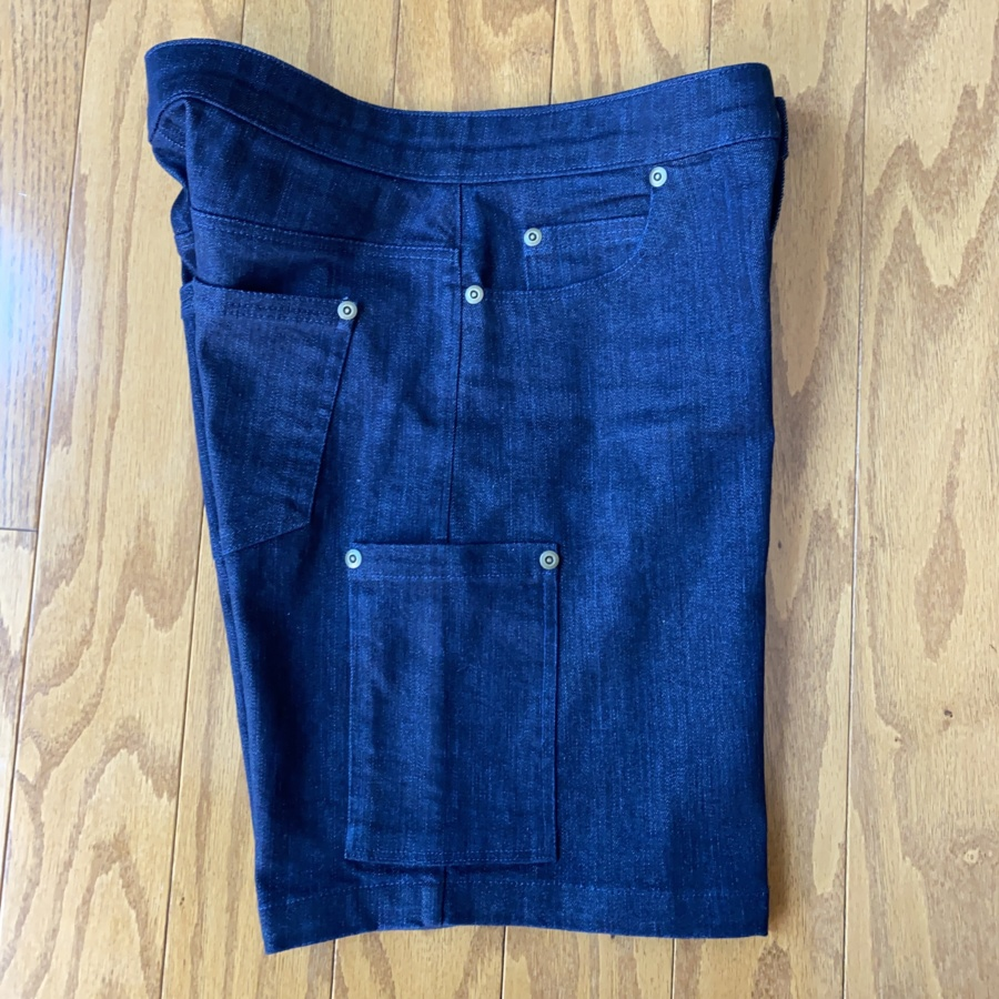 Ginger Jean shorts side view flat lay
