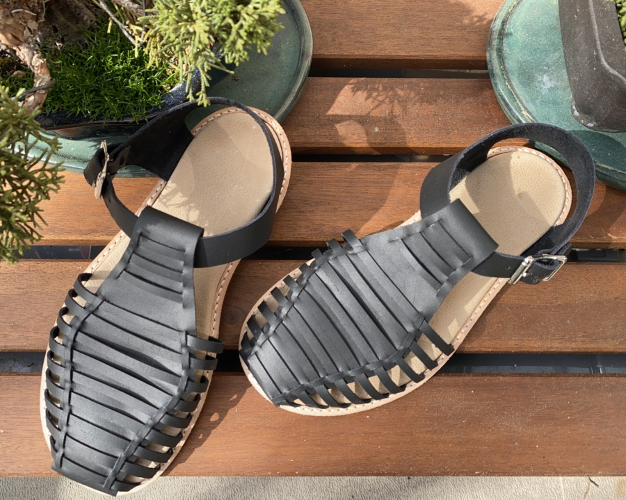 Black leather Astrid Sandals with natural colour insole and silver buckles (top view)